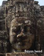 cambodia tours bayon head in Siem Reap