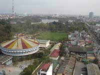 The view from the 11th floor -  the circular building to the left is the Vietnam Circus