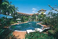 The Riverside Resort's pool is a few metres from the banks of the Thu Bon River