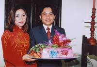 The gifts are received and placed on the wedding altar