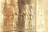 Bas reliefs of dancing apsaras - in Hindu and Buddhist mythology
