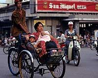 The Saigon-style cyclo - the driver sits on a much higher saddle than the northern version